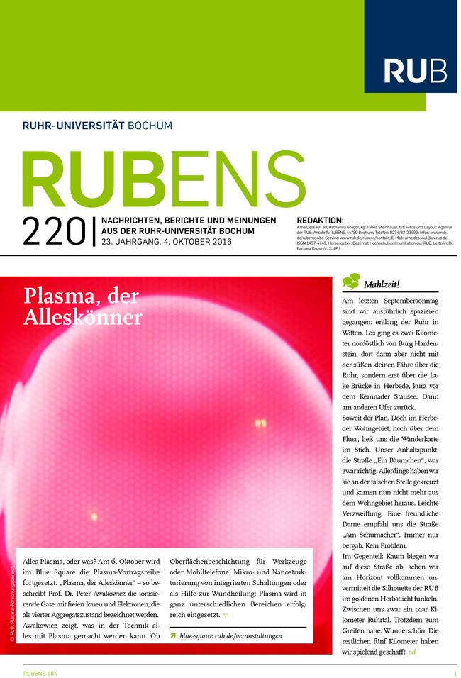 Cover der Rubens 220 mit einem Plasma als Titel