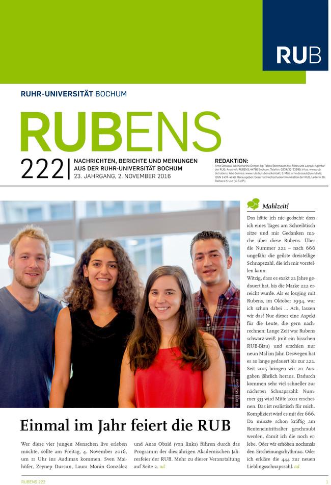 Cover der Rubens 222 mit zwei Studentinnen und zwei Studenten als Titel