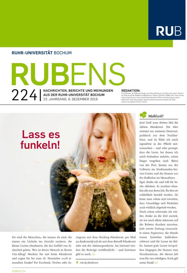 Cover der Rubens 224 mit einer Studentin, die Glanz verstreut, als Titel