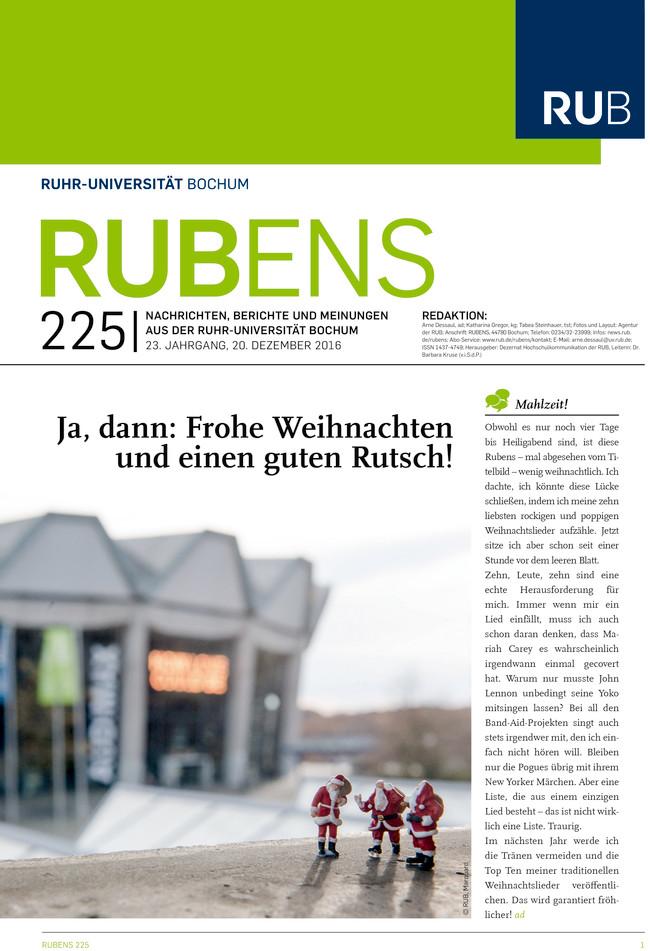 Cover der Rubens 224 mit drei Weihnachtsmannfiguren und dem Audimax im Hintergrund
