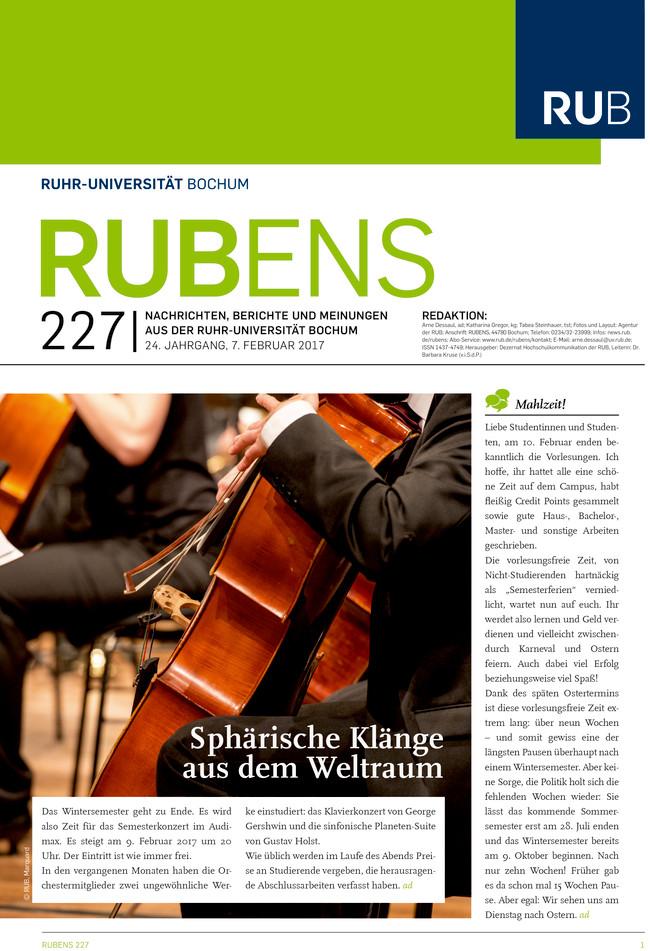 Cover der Rubens 226 mit Musikinstrumenten