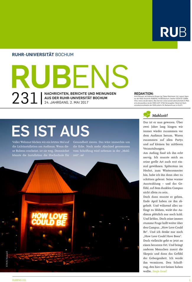 """Cover der Rubens 231 mit dem Audimax und dem Schriftzug """"How love could be"""""""