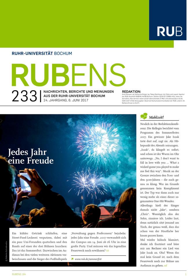 Cover der Rubens 233 mit Feuerwerk über dem Audimax