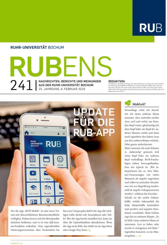 Cover der Rubens 241 mit Smartphone, das die RUB-App zeigt