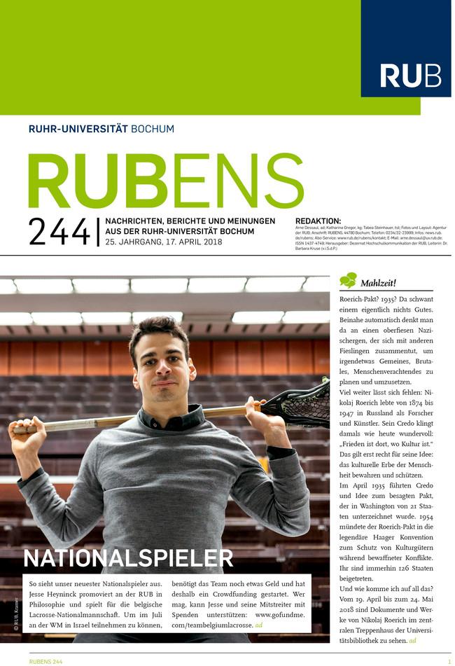 Cover der Rubens 244 mit Sportler im Hörsaal