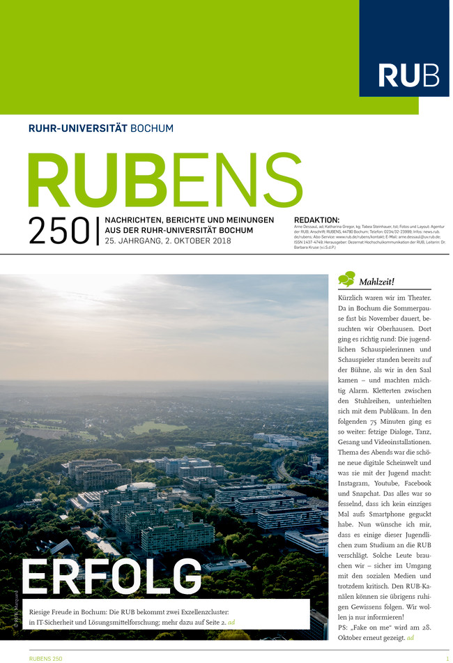 Cover der Rubens 250 mit einem Luftbild der Ruhr-Uni