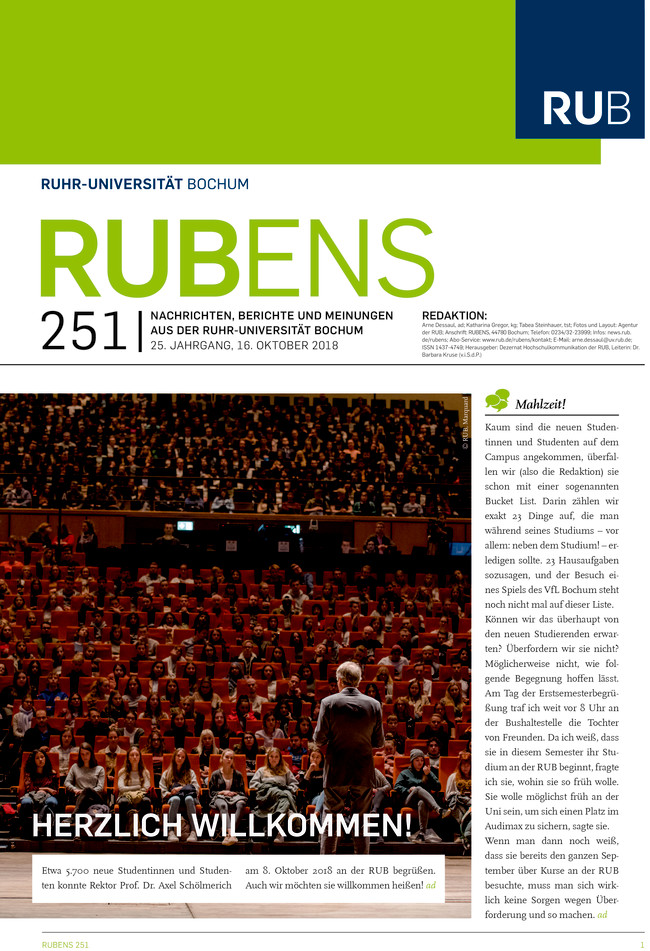 Cover der Rubens 251 mit Erstsemesterbegrüßung