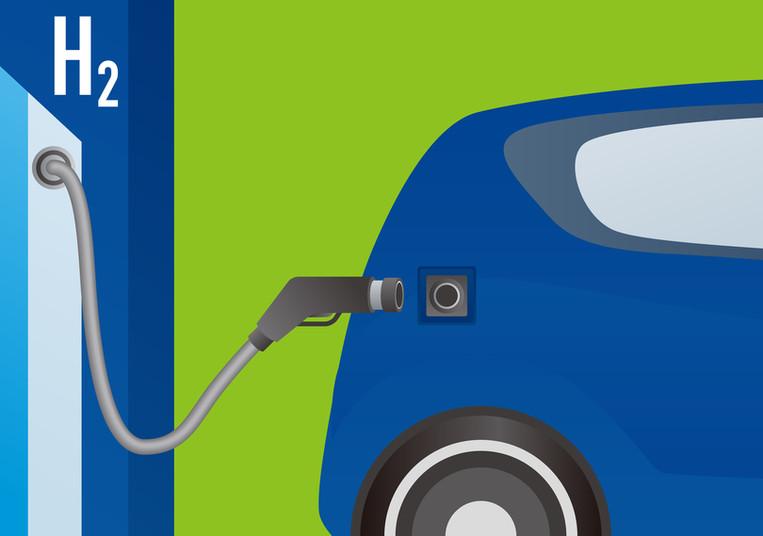 Grafik Wasserstoffauto an der Zapfsäule