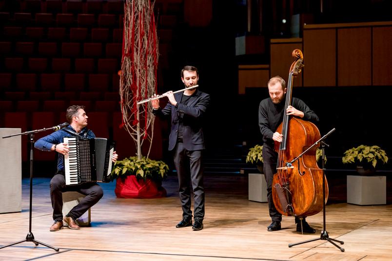 3 Musiker: Akkordeon, Querflöte, Kontrabass