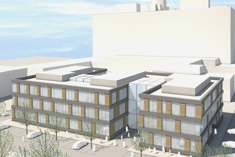 Entwurf des Forschungsbaus Zemos im Osten des Campus. Im Hintergrund ist das Gebäude ND zu sehen.