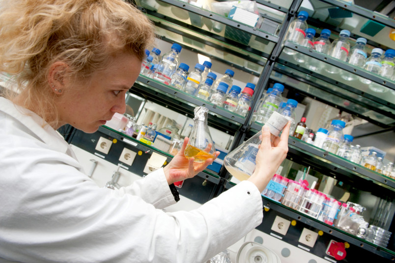 Anja Hemschemeier bei der Arbeit im Labor.