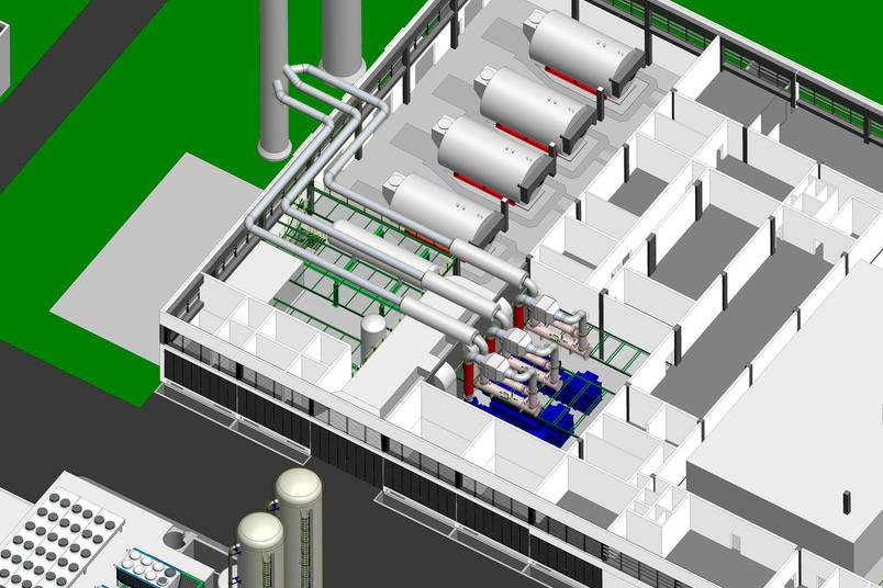 Skizze: Planung der Kesselhalle des Kraftwerks im Technischen Zentrum