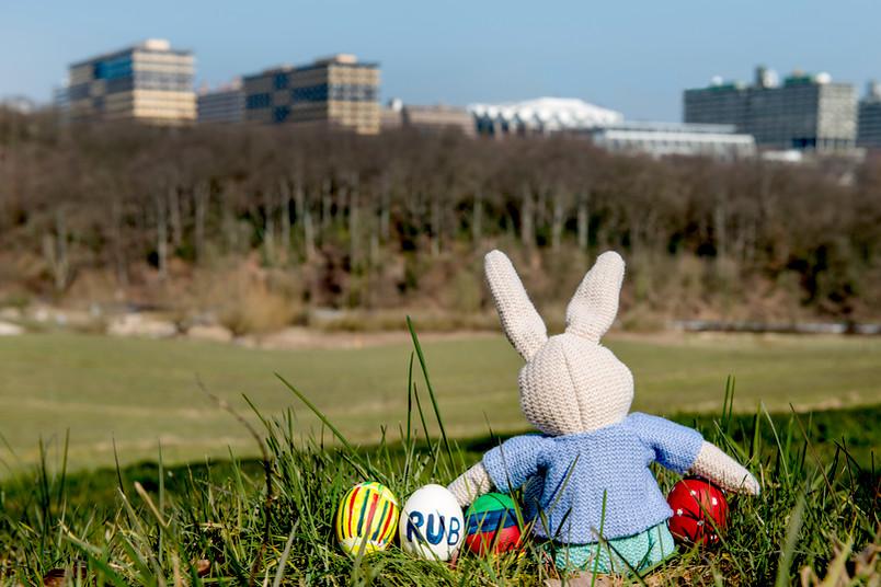 Der Osterhase blickt von fern auf die Ruhr-Uni.