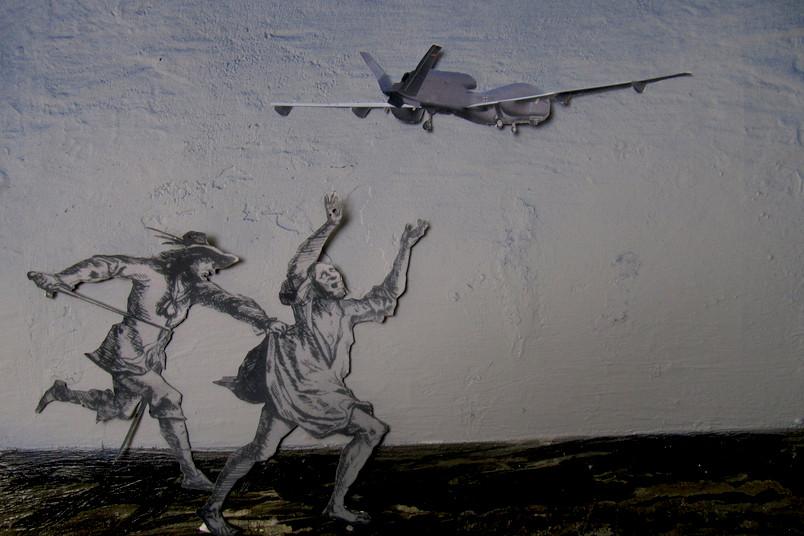 Glasklarer Gegensatz: Menschen aus dem Mittelalter treffen auf ein modernes Flugzeug.