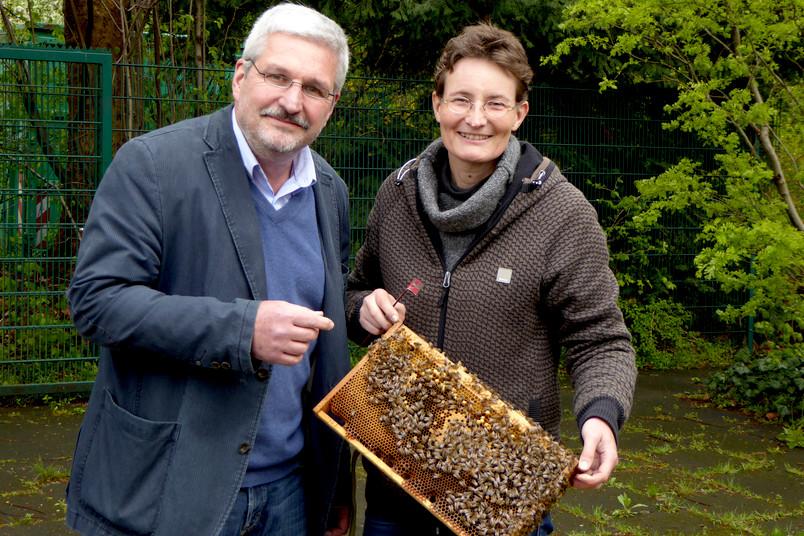 Prof. Dr. Wolfgang Kirchner und Dr. Pia Aumeier freuen sich über die Bewilligung eines gemeinsam koordinierten Projekts, das zum Ziel hat, die Gesundheit von Honigbienenvölkern zu verbessern.