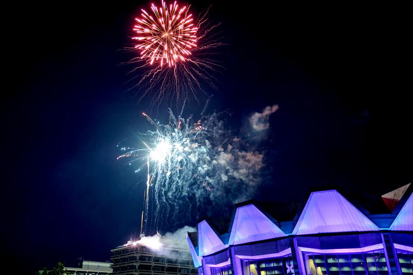 So sah das Feuerwerk über dem Audimax im Sommer 2014 aus.