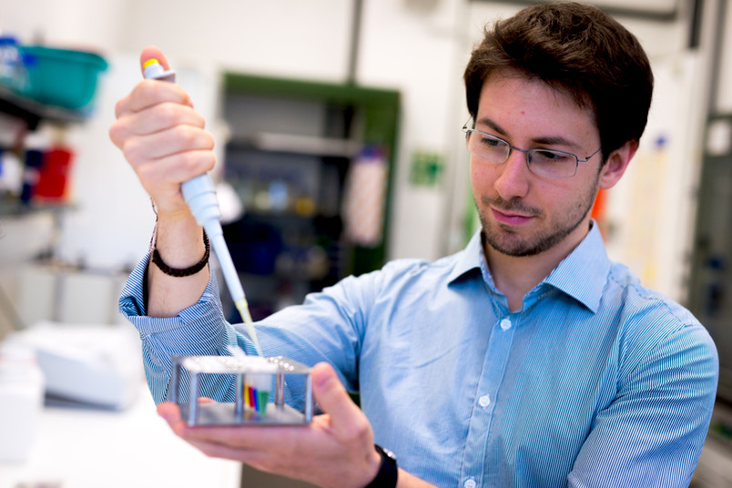Ein junger Forscher pipettiert bunte Flüssigkeiten.