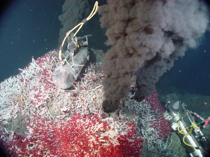 Dunkler Qualm tritt aus einem bewachsenen Hügel unter Wasser aus.