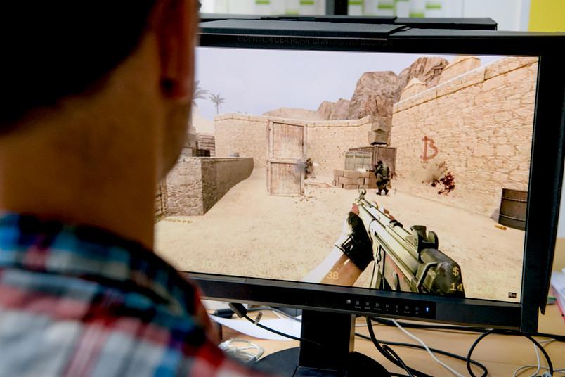 Ego-Shooter und Killerspiel: Spieler am Computer