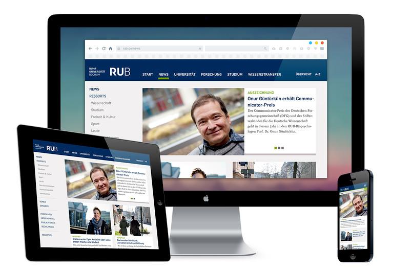 Modern und userfreundlich: So präsentiert sich das Newsportal, das ab sofort alle Neuigkeiten rund um die RUB bündelt.