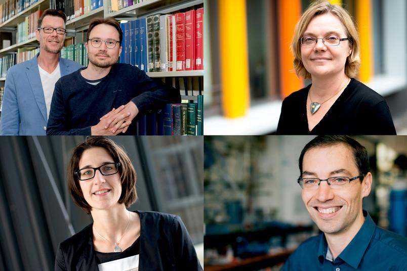 Freuen sich über Fördermittel vom Europäischen Forschungsrat: Rüdiger Arnzen und Yury Arzhanov, Elisabeth de Boer, Nicolas Plumeré und Viktoria Däschlein-Gessner (von oben links im Uhrzeigersinn)