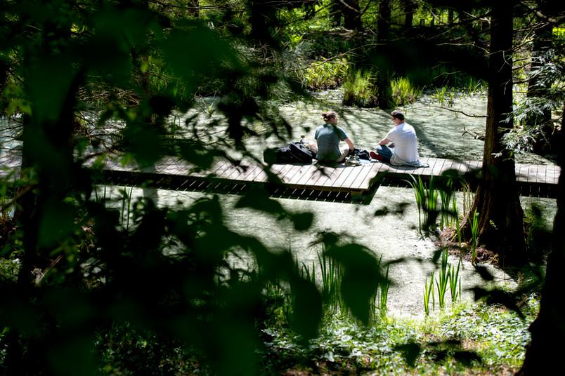 Steg in einem Teich auf dem zwei junge Männer sitzen.