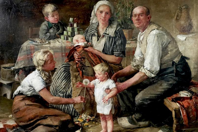 Ölbild einer Familie