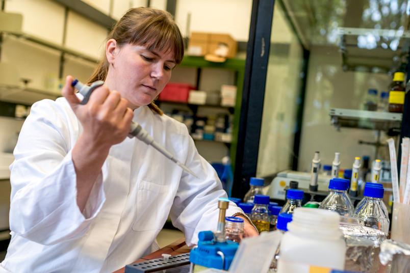 Eine Frau in weißem Kittel arbeitet im Labor mit einer Pipette.