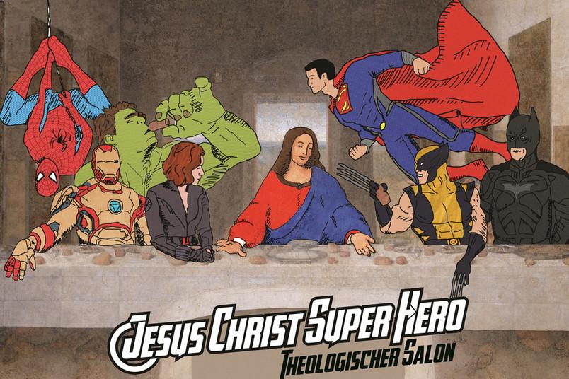 Illustration in Anlehnung an die klassische Darstellung des Abendmahls: Jesus umringt von Comic-Superhelden