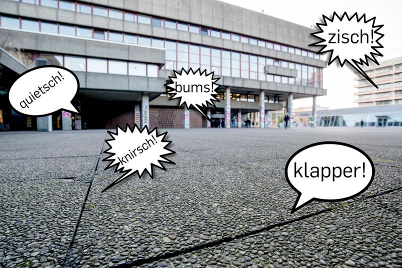 Geräuscheblasen erscheinen auf dem Platz vor der Unibibliothek aus allen Ecken.