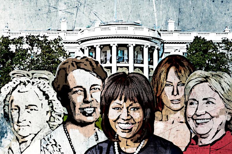 Martha Washington, Eleanor Roosevelt, Michelle Obama, Melanie Trump und Hillary Clinton.