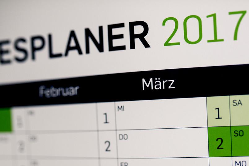 Wandkalender mit dem Monat März