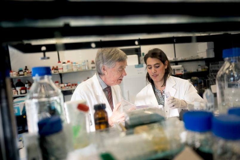 Zwei Forscher hantieren im Labor, im Vordergrund Flaschen und Gefäße