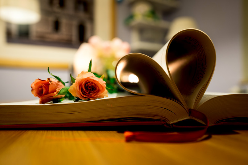 Rote Rosen auf einem Buch mit herzförmigen Seiten