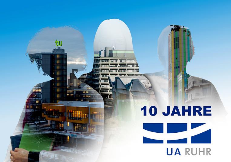 Silhouetten von Menschen mit Gebäuden der drei Ruhrgebietsunis