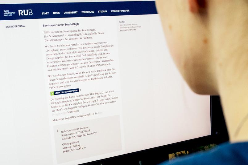 Eine Frau sitzt am Computer, sie ist von hinten zu sehen