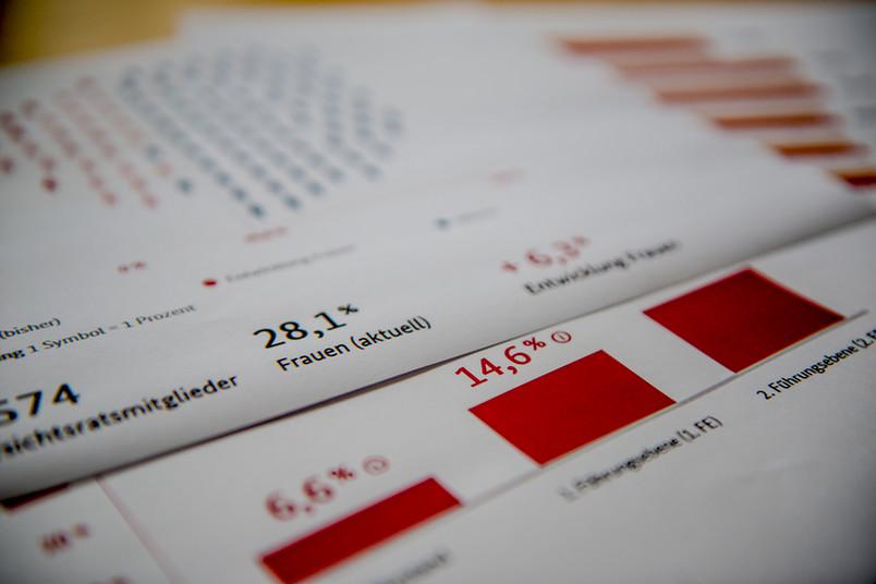 Infografiken auf einem Tisch