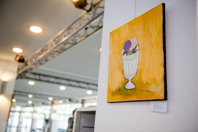 Buntes Gemälde zum Thema Essen