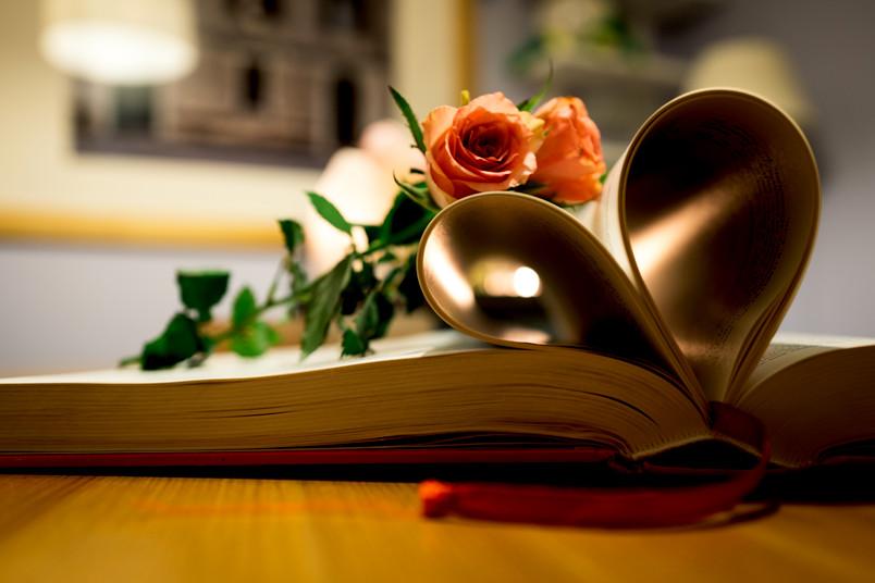 Zwei Rosen und ein Buch, dessen Seiten ein Herz bilden