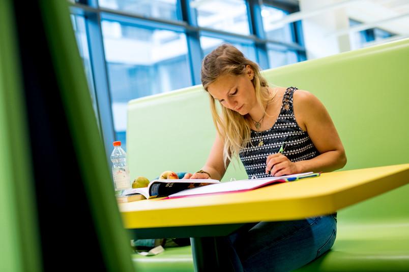 Porträt einer etwa 20-jährigen Frau, die am Tisch sitzt und lernt