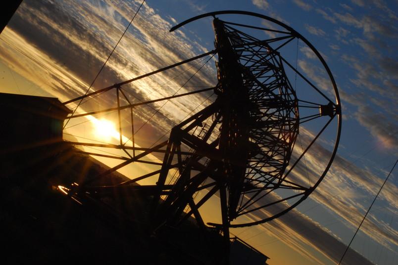 Teleskop im Sonnenuntergang