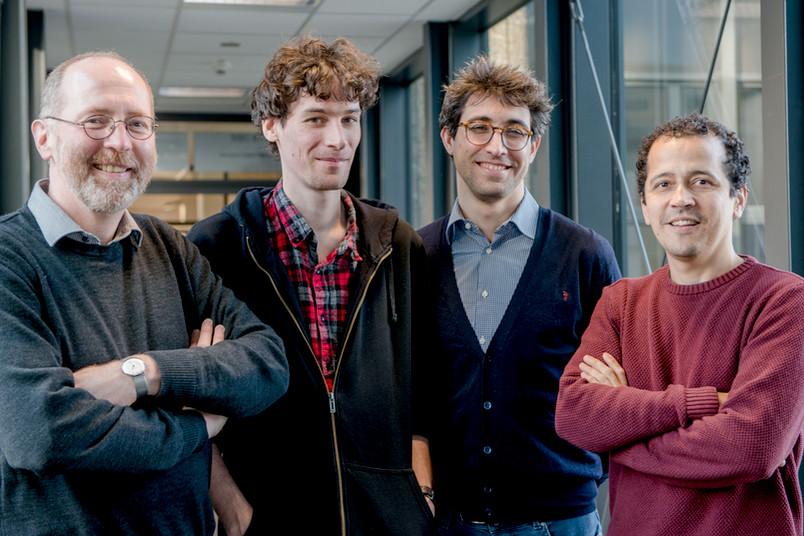 Heinrich Wansing (v.l.r.), Sergey Drobyshevich, Paolo Maffezioli und Joao Marcos beschäftigen sich mit Logik.