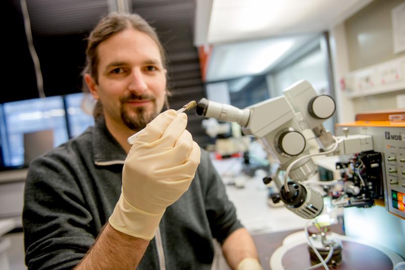 Forscher mit Objektträger