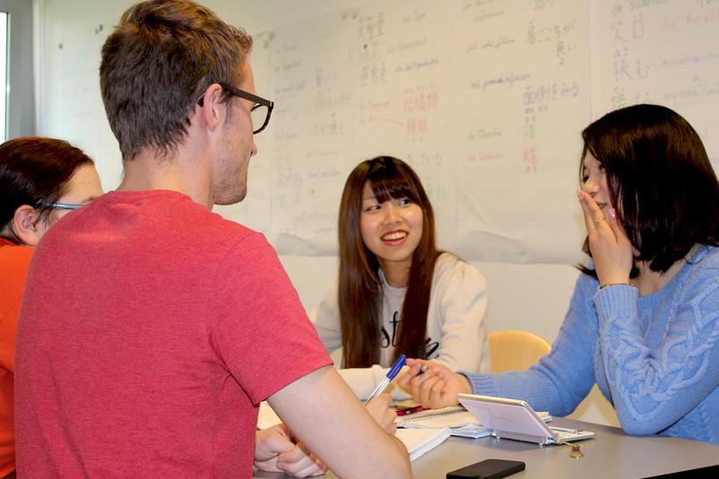 Lernsituation mit vier Studierenden