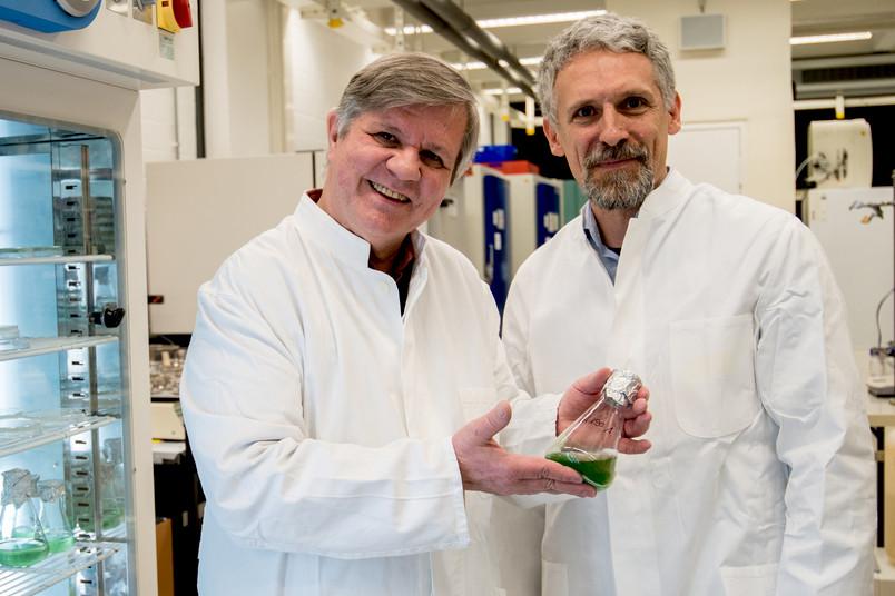 Matthias Rögner und Marc Nowaczyk im Labor