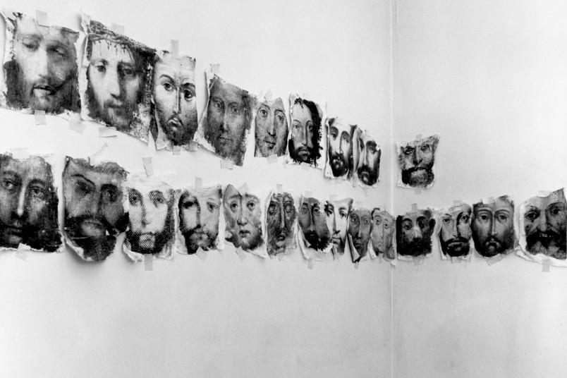 Kunstwerk mit Gesichtern