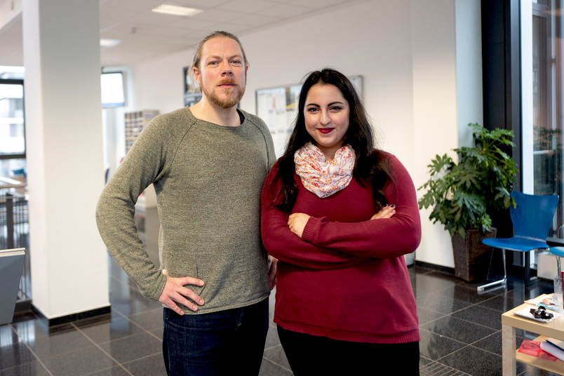 <div> Max Ammareller und Yazgi Yilmaz arbeiten gemeinsam am Ausbau des Talente-Netzwerkes.</div>