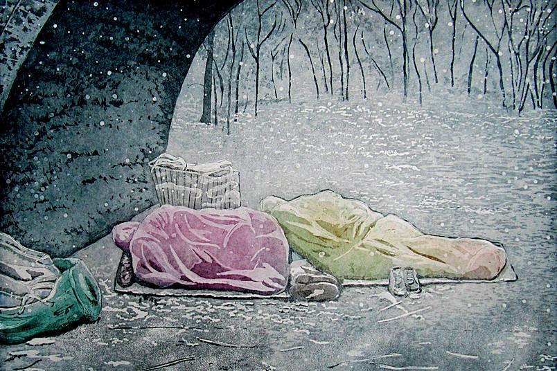 Farbradierung zeigt Schlafende im Park