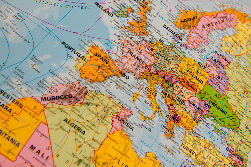 Ausschnitt aus einer Weltkarte