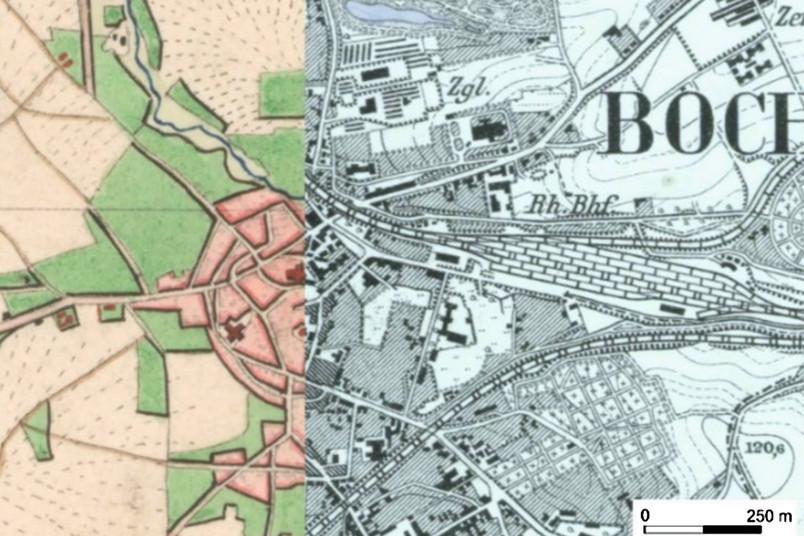 Zwei historische Kartenausschnitte
